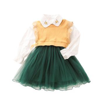 漫露可女童连衣裙洋气小女孩裙清爽秀气女宝宝公主裙两件套