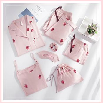 安之伴睡衣女春夏秋纯棉长袖裤七件套装吊带性感甜美可爱大码家居服