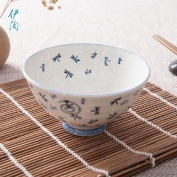 伊陶 日式碗 家用碗 日式家居卡通饭碗 汤面碗 5.0英寸蓝色蜻蜓碗/个