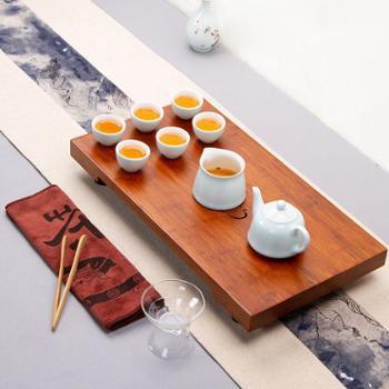 阿特泥整块日式排水茶盘配景德镇茶具套装