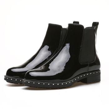 YolandaZula女鞋2019秋冬铆钉风切尔西短靴及踝裸靴英伦马丁靴中粗跟厚底防滑户外雨靴