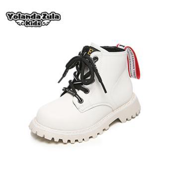 女童男童鞋2-15岁冬季儿童短靴侧拉链真皮保暖绒里小孩靴子雨靴26-36码齐