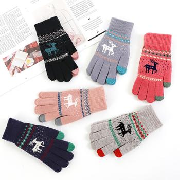 手套女士冬季麋鹿提花针织触屏五指保暖毛线手套1双