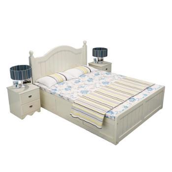 欧式实木高箱储物床1.8米双人床地中海单人床1.5白色松木床气压床