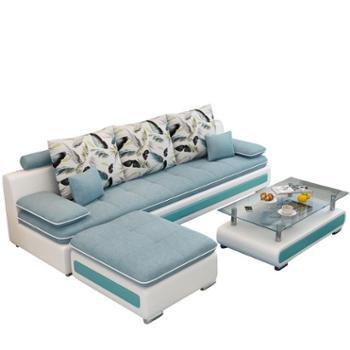 现代布艺沙发小户型组合三人位客厅家具整装皮布沙发工匠时光