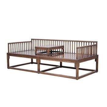 禅意老榆木罗汉床榻仿古家具实木简约沙发床新中式