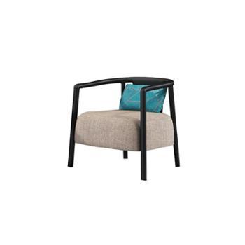 新中式实木单人沙发椅售楼处美容院酒店休闲洽谈桌椅组合家具