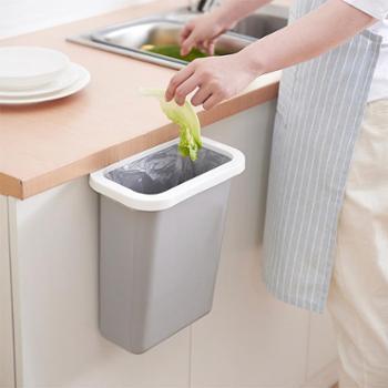 挂式垃圾桶橱柜门挂式塑料垃圾架无盖压圈垃圾桶收纳桶