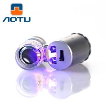 凹凸放大镜60倍高倍镜LED灯光放大镜袖珍显微镜紫外线验钞功能放大镜户外放大镜户外装备