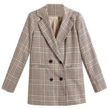 NUTLET双排扣西装外套格子宽松上衣2136