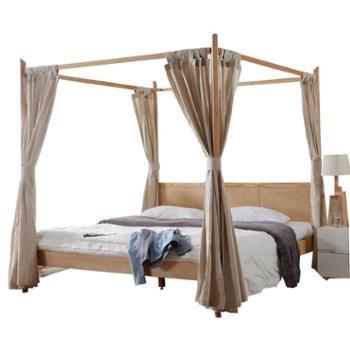 双人拔步架子床白蜡木水曲柳简约现代四柱实木床民宿家具