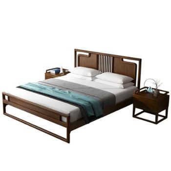 简约现代中式原木色1米8双人床全屋家具