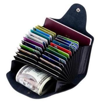 新款卡包风琴真皮现货多卡位男士外贸简约双排多功能卡套女软皮CL-6668