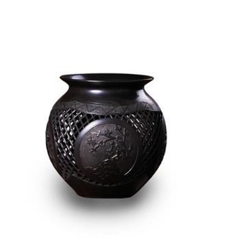 【屈陶屈窑】黑陶平雕镂空四君子罐工艺品陶罐玄关客厅摆件