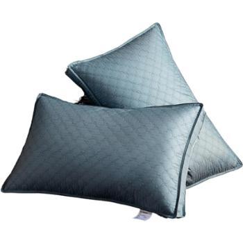 花蓉蓉80S柔赛丝羽丝绒绗缝护颈枕芯日式简约酒店枕双边单人成人立体枕头一对拍2