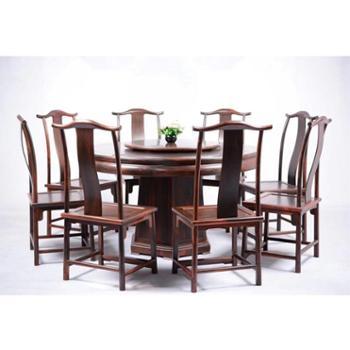 非洲大红酸枝古典红木家具圆形餐桌椅组合+茶桌椅组合各一套