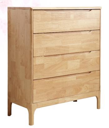 全实木斗柜 北欧四斗柜 简约卧室全橡木 原木色