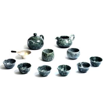 墨脱皂石飞鸿茶具11件套