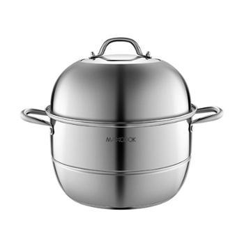 美厨二层蒸锅不锈钢加厚复底蒸煮两用锅电磁炉通用34CMMCZ777