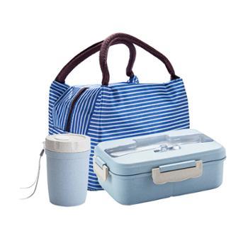 美厨小麦秸秆分隔饭盒蓝色系含餐具赠保温袋赠汤杯MCFT279
