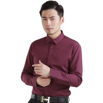 多佳男装波点全棉休闲衬衫长袖英伦风格修身衬衣色织圆点200001