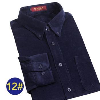 多佳男士灯芯绒长袖衬衫全棉加厚宽松大码纯色衬衣200005