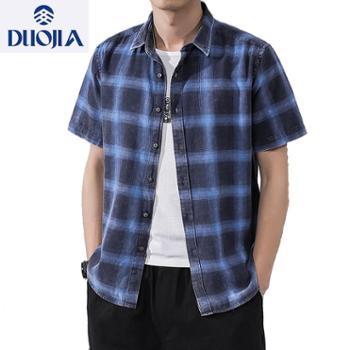 多佳夏季短袖全棉色纺格子韩版修身休闲男衬衫210068