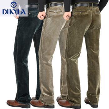 多佳弹力秋冬厚款中年男式休闲裤条绒裤110301灯芯绒面料80棉