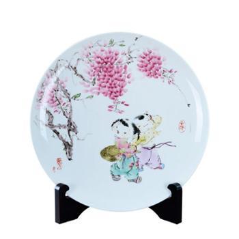 瓷博景德镇装饰瓷盘摆件婴戏图童趣人物玄关工艺品