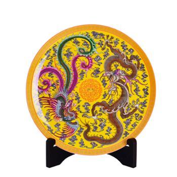 瓷博 景德镇陶瓷盘装饰盘子摆件龙凤呈祥特色婚庆古朴现代工艺品