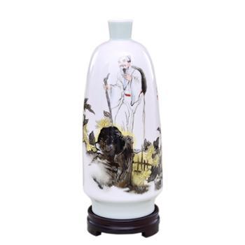 瓷博 景德镇陶瓷花瓶摆件装饰品采菊图瓷瓶工笔人物家居客厅书房工艺品
