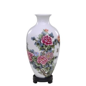 瓷博 景德镇陶瓷花瓶摆件工艺品 国色天香牡丹花客厅装饰 送老外中国风礼品