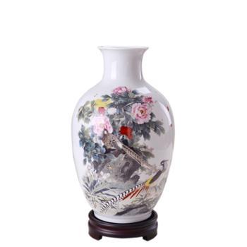 瓷博景德镇陶瓷工艺品摆件花瓶喻继高牡丹花开瓷瓶