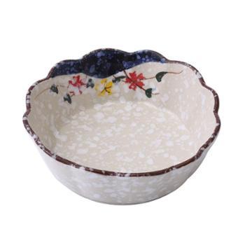 佰润居 6寸沙拉碗 日式雪花釉陶瓷碗 刨冰水果碗莲花碗果酱碗
