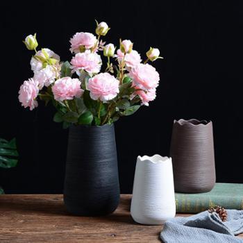 北欧素烧拉丝陶瓷花瓶摆件密纹波浪口中号简约日系插干花花器客厅装饰