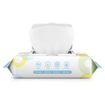 植护婴幼儿湿巾80抽带盖便携式手口湿纸巾