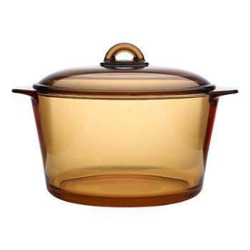 乐美雅(Luminarc)法国进口琥珀锅玻璃锅直烧锅汤锅耐高温3L