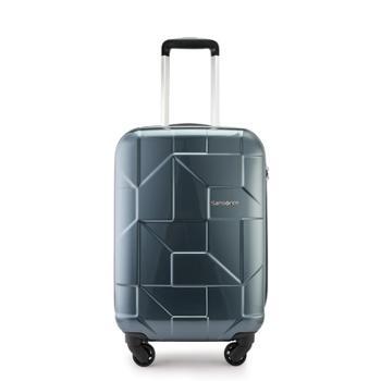 Samsonite/新秀丽万向轮商务拉杆箱时尚几何亮面行李箱可登*码锁旅行箱I60炭灰色20英寸