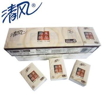 清风纸手帕纸 36包装 3层 10张/包 210mm*210mm 纸手帕 原木纯品系列手帕纸 随身携带