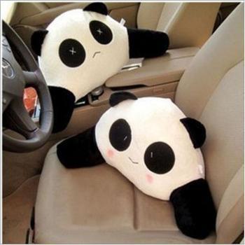 哈雷可爱大熊猫卡通靠垫抱枕汽车腰垫腰靠办公室腰枕车用靠枕