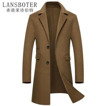 莱诗伯特秋冬羊毛双面呢大衣男手工中长款羊绒毛呢大衣男LB8803
