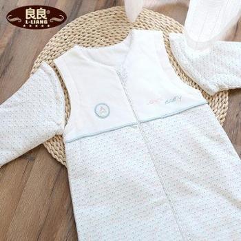 良良睡袋新款彩铃纯棉春秋睡袋宝宝婴儿可脱袖空调防踢被柔软