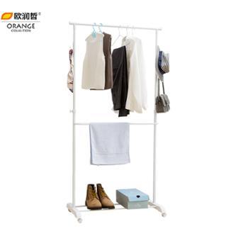 欧润哲时尚可扩展版伸缩晾衣架带鞋架多功能一体化衣帽架带挂钩