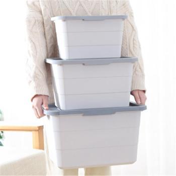 (日常居家生活用品)塑料收纳箱玩具整理箱家用有盖书本零食衣柜收纳盒加厚床底储物箱