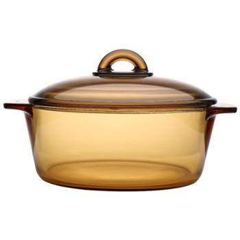 乐美雅法国进口琥珀超耐热玻璃直烧玻璃锅2L-L7357