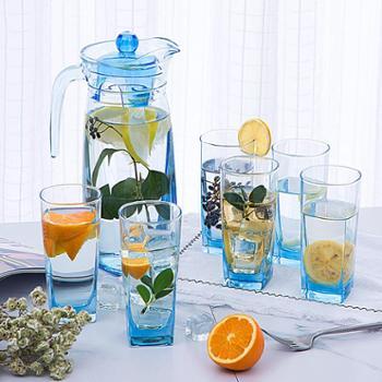 乐美雅棱镜水壶饮料用具冰蓝款水具7件套(1壶+6杯)