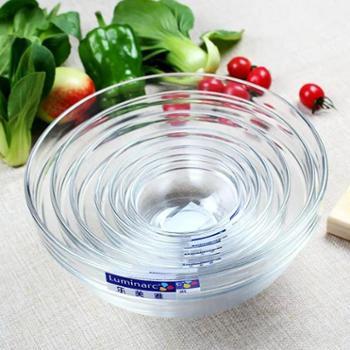 乐美雅透明可叠钢化玻璃沙拉碗8件套