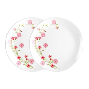 乐美雅法国进口迪瓦丽欧珀钢化玻璃罗曼红餐盘-8寸平盘(2只装)