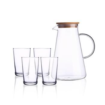 乐美雅高硼硅玻璃耐高温日式大容量-哈根热饮壶水具5件套P7121