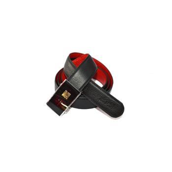 本命年男士皮带红腰带裤带头层牛皮加长自动扣黑色红色外黑内红富贵有余红腰带
